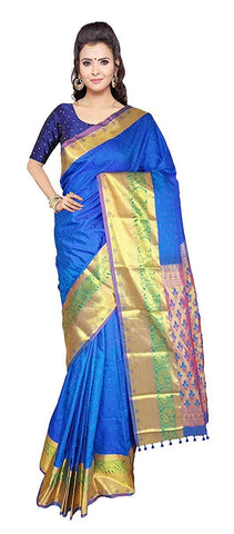 VFCOLLECTIONS Blue Color Kanchipuram Bridal Pattu Silk Saree - Peacock Border With Blouse Piece  - VFCollections190