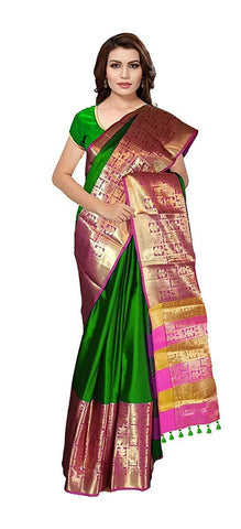VFCOLLECTIONS Green Color Fancy Saree with Heavy Border and Blouse  - VFCollections196