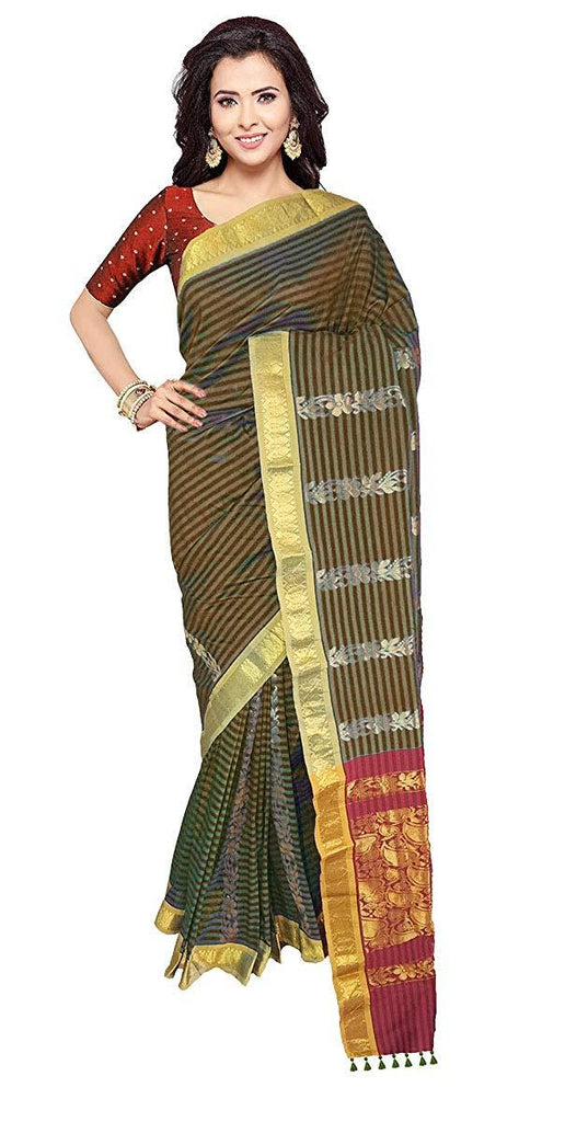 Buy VFCOLLECTIONS Black Color Gadwal Cotton Silk Pattu Saree With Blouse Piece  - Buy VFCOLLECTIONS199