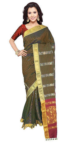 VFCOLLECTIONS Black Color Gadwal Cotton Silk Pattu Saree With Blouse Piece  - VFCollections199