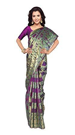 VFCOLLECTIONS Purple Color Banaras Pattu Silk Instrumental All-Over With Blouse Piece  - VFCollections315