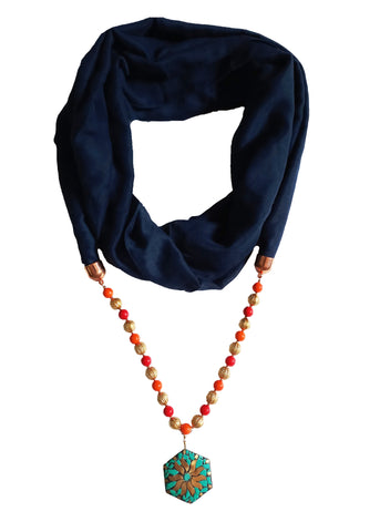 Blue Color PolyCotton Women Scarf - VFH-10315