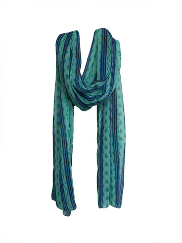 Sea Green Color PolyCotton Women Scarf - VFH-10321
