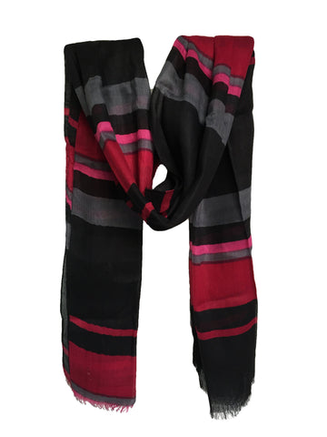 Black Color PolyCotton Women Scarf - VFH-10323