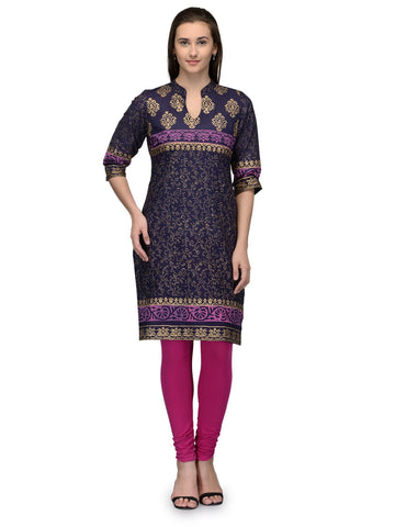 Purple Color Cotton Stitched Kurti - VFK-009