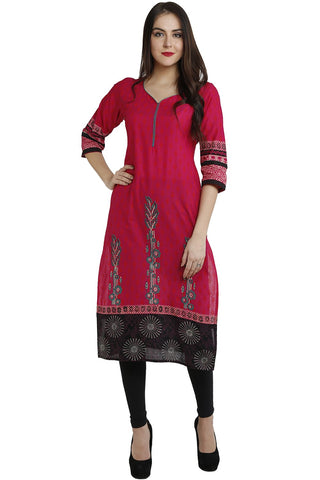 Red Color Cotton Stitched Kurti - VFK-0111