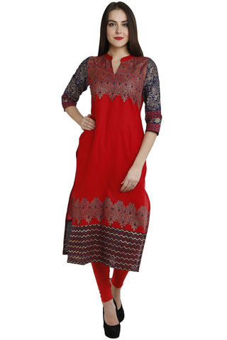 Red Color Cotton Stitched Kurti - VFK-0112