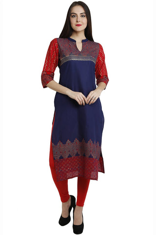Blue Color Cotton Stitched Kurti - VFK-0113