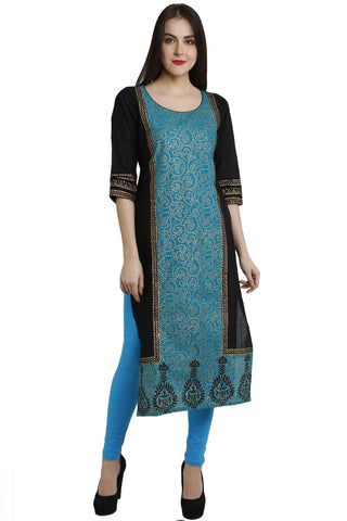 Blue Color Cotton Stitched Kurti - VFK-0115
