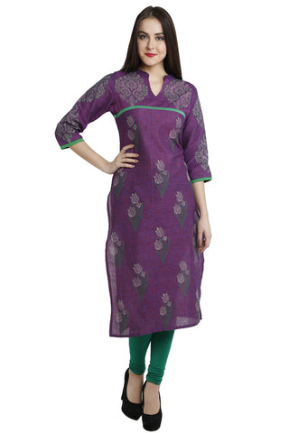 Purple Color Cotton Stitched Kurti - VFK-0116