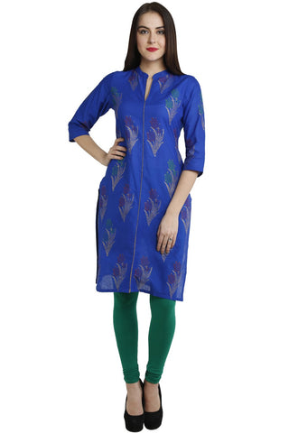 Blue Color Cotton Stitched Kurti - VFK-0117