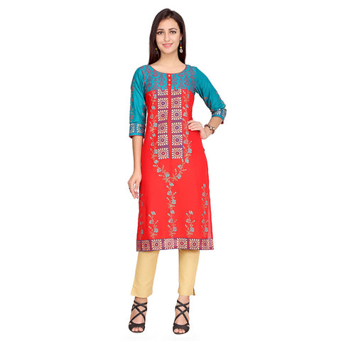 Red Color Cotton Stitched Kurti - VFK-0124