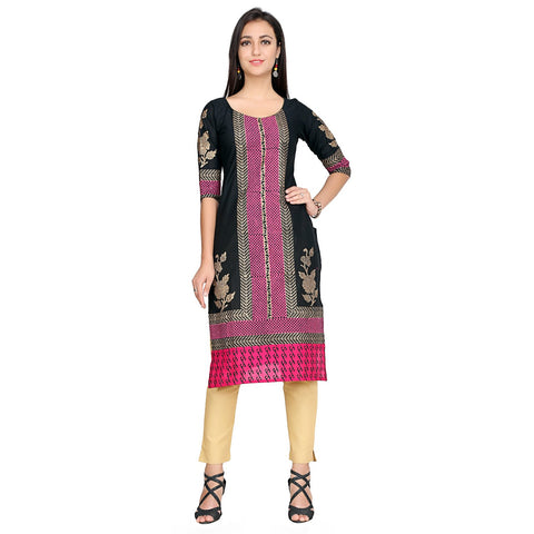 Black Color Cotton Stitched Kurti - VFK-0125