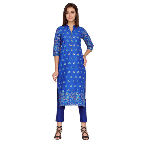 Blue Color Cotton Stitched Kurti - VFK-0130
