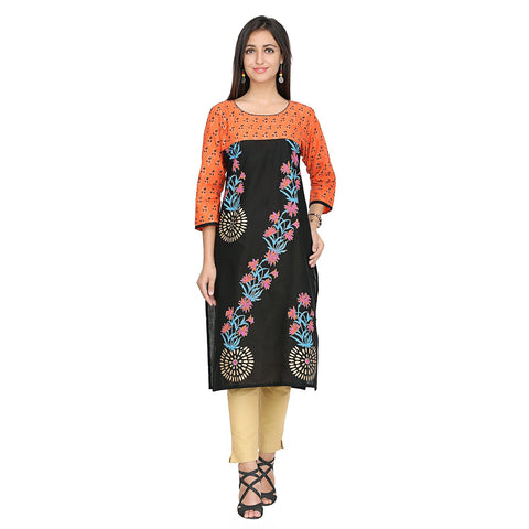 Black Color Cotton Stitched Kurti - VFK-0134