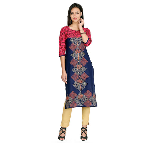 Blue Color Cotton Stitched Kurti - VFK-0135
