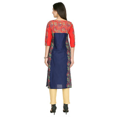 Blue Color Cotton Stitched Kurti - VFK-0136
