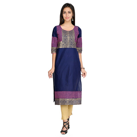 Blue Color Cotton Stitched Kurti - VFK-0137