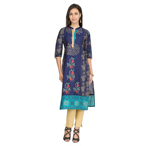 Blue Color Cotton Stitched Kurti - VFK-0138