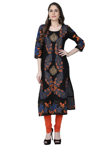 Black Color Cotton Stitched Kurti - VFK-0158