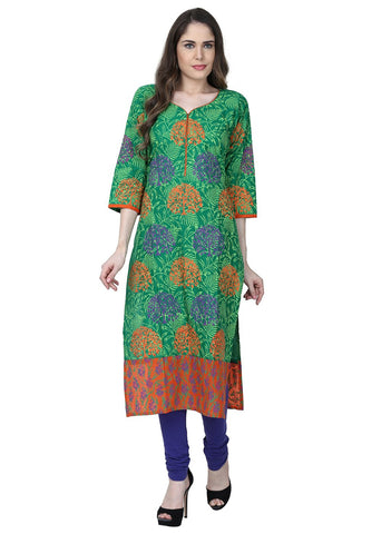 Green Color Cotton Stitched Kurti - VFK-0159