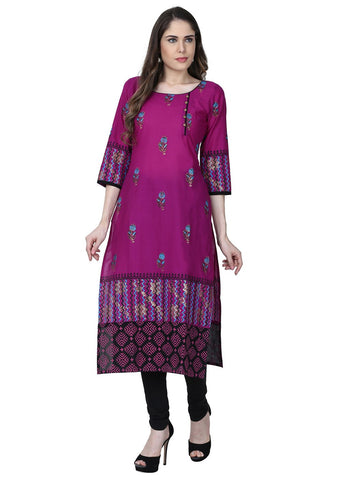 Purple Color Cotton Stitched Kurti - VFK-0162