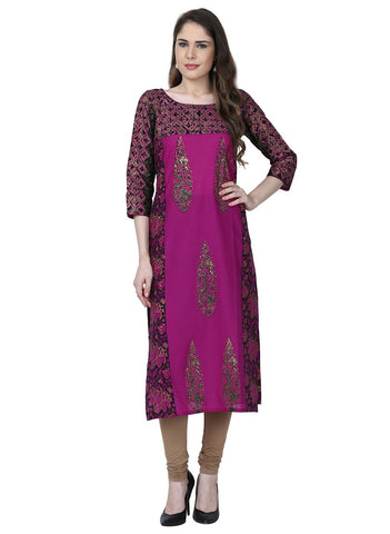 Purple Color Cotton Stitched Kurti - VFK-0163