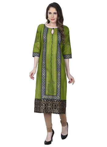 Green Color Cotton Stitched Kurti - VFK-0164