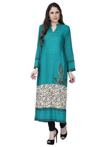 Blue Color Rayon Stitched Kurti - VFK-0166