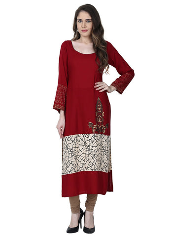 Maroon Color Rayon Stitched Kurti - VFK-0167