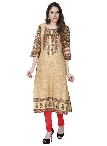 Beige Color Cotton Stitched Kurti - VFK-0171