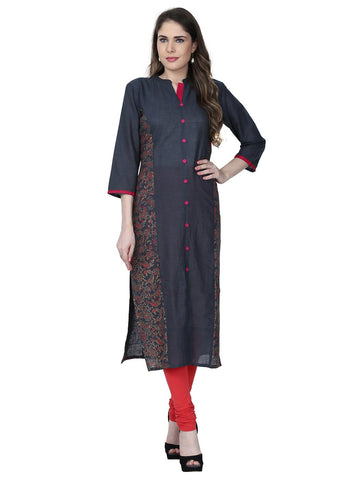 Grey Color Cotton Stitched Kurti - VFK-0172