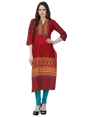 Red Color Cotton Stitched Kurti - VFK-0173