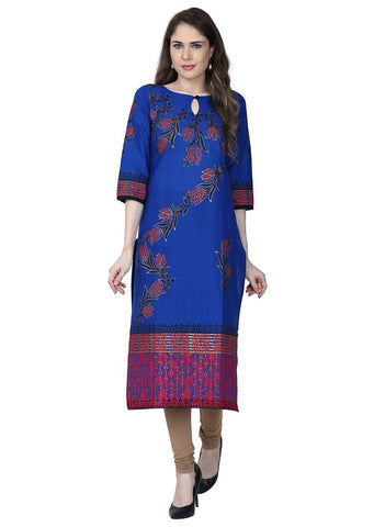 Blue Color Cotton Stitched Kurti - VFK-0175