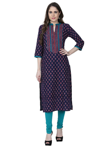 Blue Color Cotton Stitched Kurti - VFK-0176