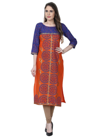 Orange Color Cotton Stitched Kurti - VFK-0177