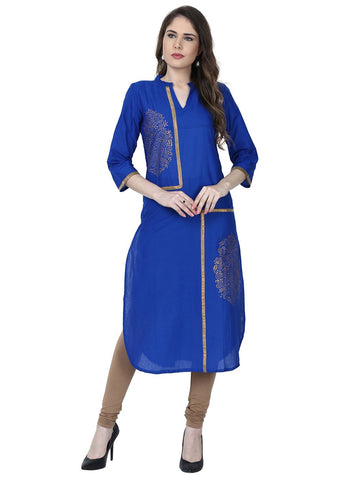 Blue Color Cotton Stitched Kurti - VFK-0179