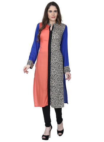 Blue Color Rayon Stitched Kurti - VFK-0180