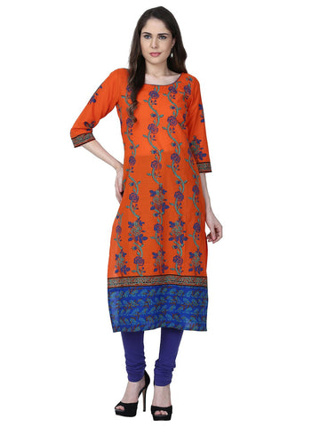 Orange Color Cotton Stitched Kurti - VFK-0181