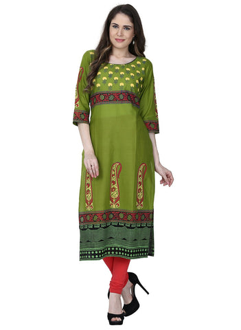 Pear Green Color Cotton Stitched Kurti - VFK-0182