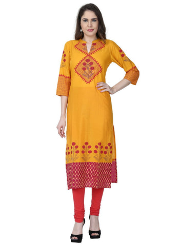 Yellow Color Cotton Stitched Kurti - VFK-0183