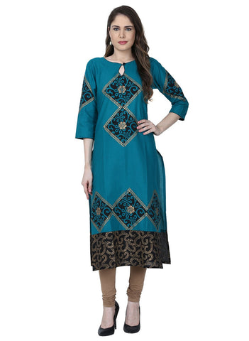 Blue Color Cotton Stitched Kurti - VFK-0184