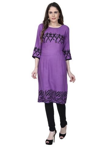 Purple Color Rayon Stitched Kurti - VFK-0185