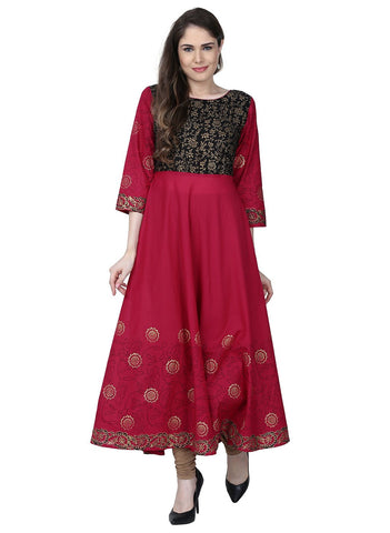 Fuchsia Color Cotton Stitched Kurti - VFK-0186