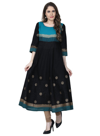 Black Color Cotton Stitched Kurti - VFK-0187
