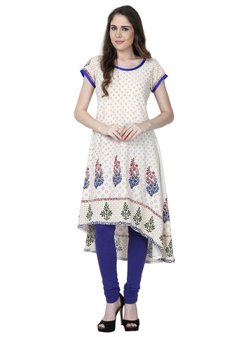 White Color Cotton Stitched Kurti - VFK-0188