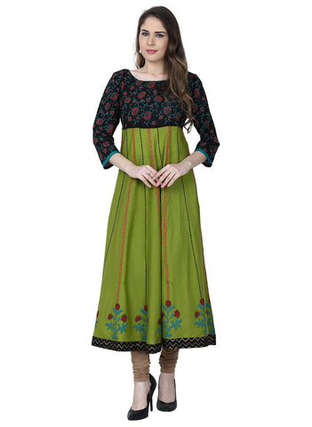 Green Color Cotton Stitched Kurti - VFK-0189