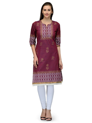 Maroon Color Cotton Stitched Kurti - VFK-052