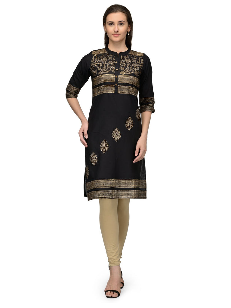 Buy Black Color Cotton Stitched Kurti