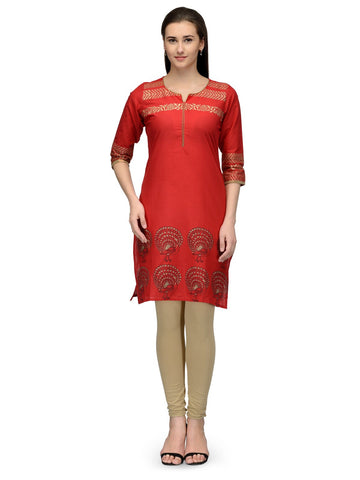 Red Color Cotton Stitched Kurti - VFK-062